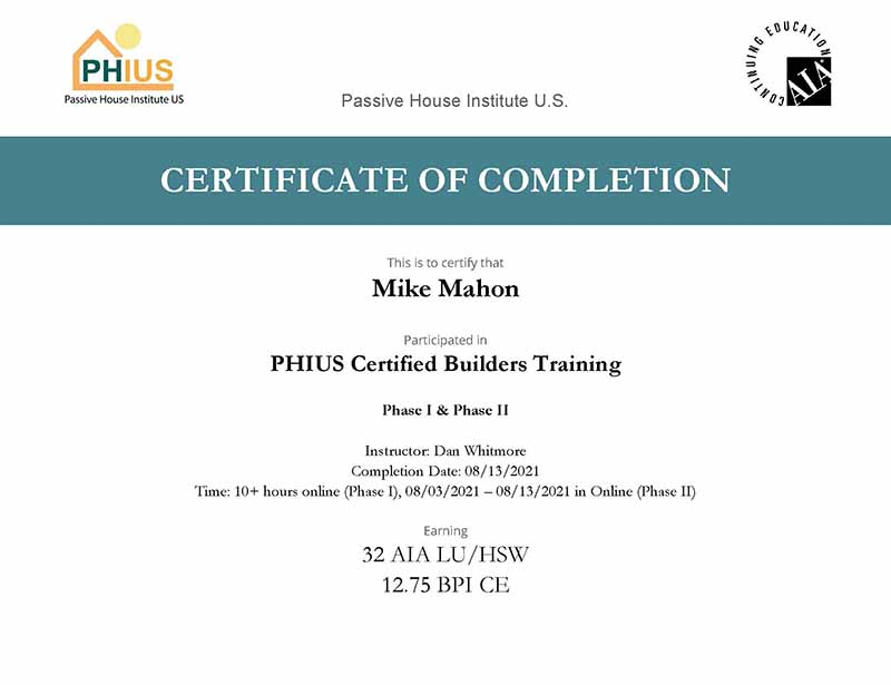 Passive House Certificate of Completion